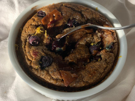 Lemon Blueberry Cheesecake Baked Oats (vegan, oil free, nut free)