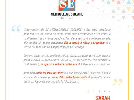 Sarah, Maman d'une  élève de 2nde : difficultés en SVT et en Maths