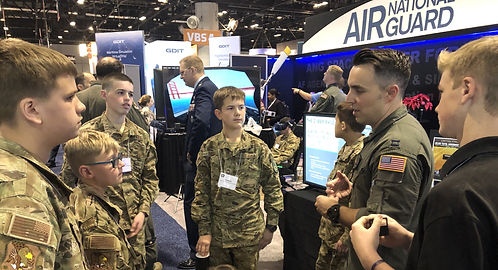 At ITSEC 2020: An Air Force Pilot briefs Eagle Cadets on his experiences at the Air Force Academy and in Air Force Pilot Training.