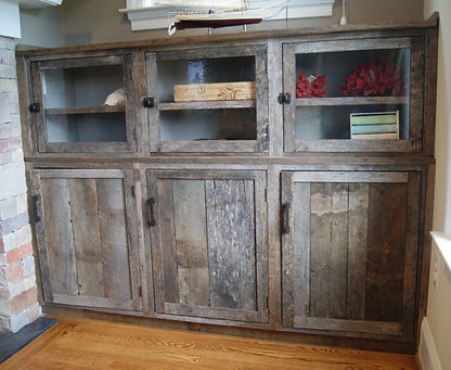 Custom original barnwood book case cabin