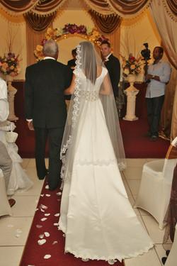 bride train aisle wedding