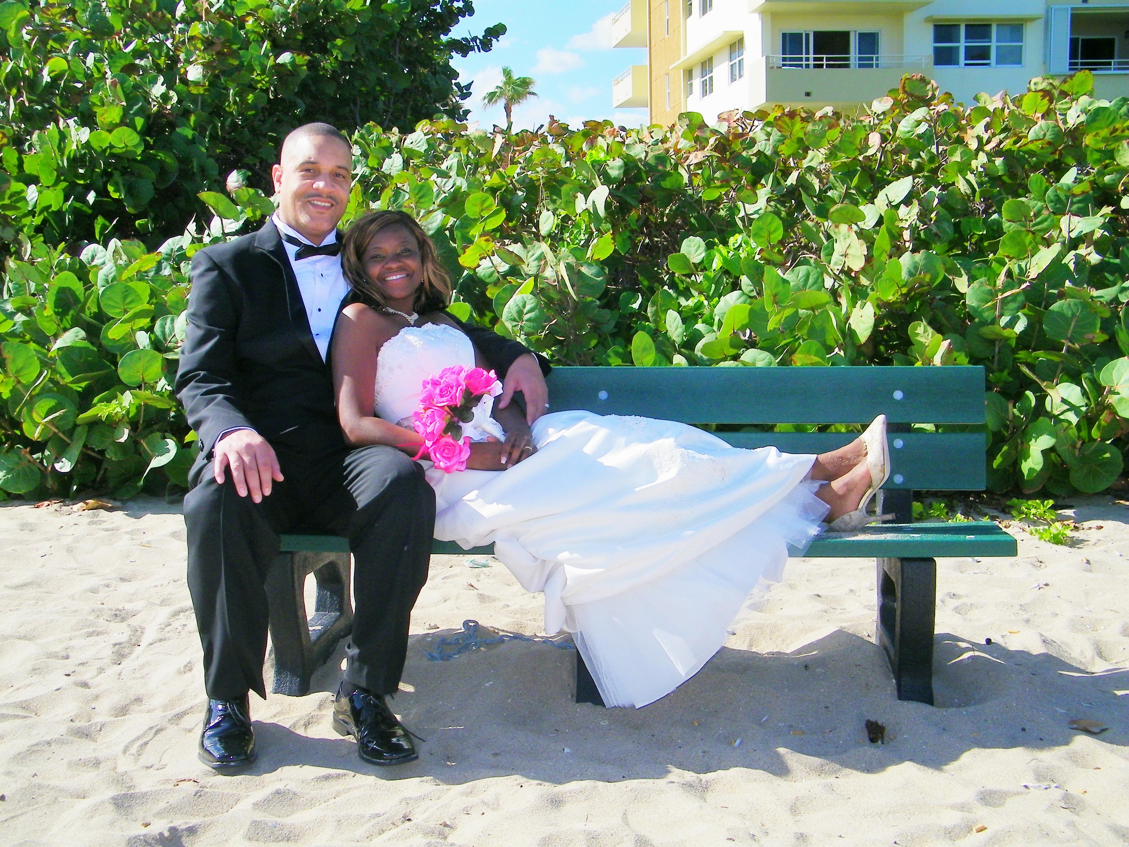 husband wife beach wedding sand