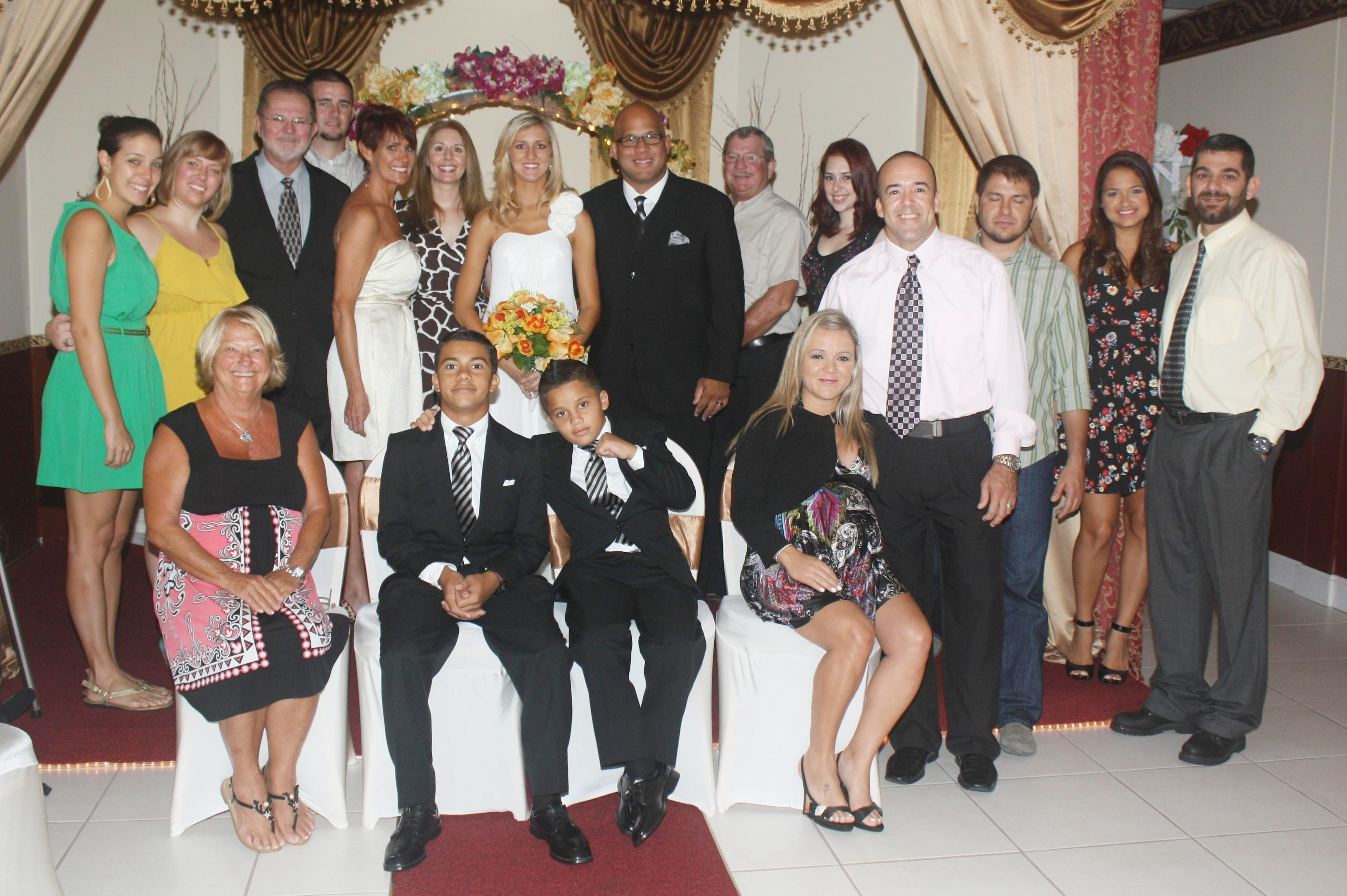 Bride groom family wedding chapel