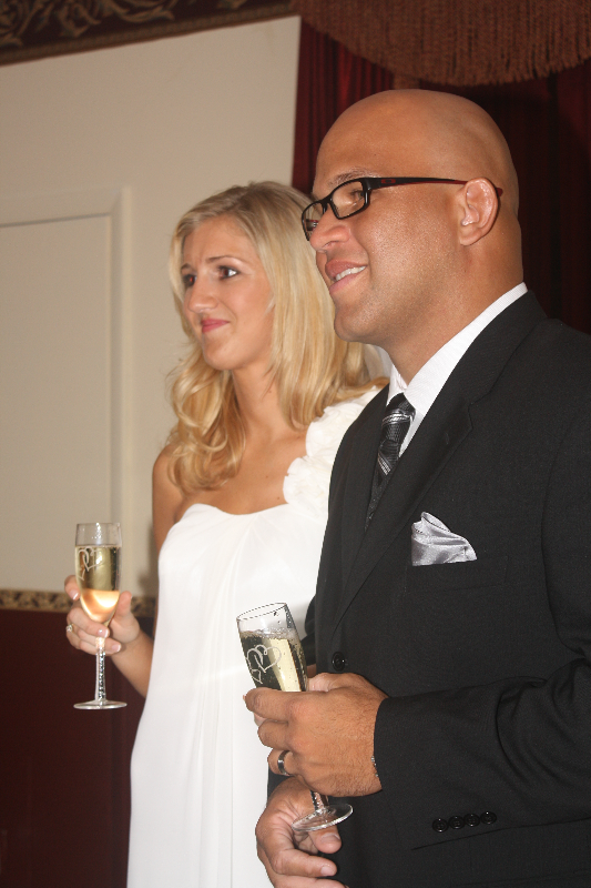 husband wife champagne toast