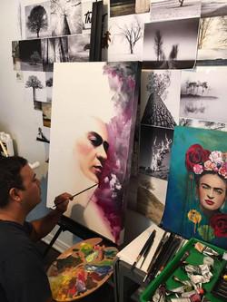 Painting Frida in the studio