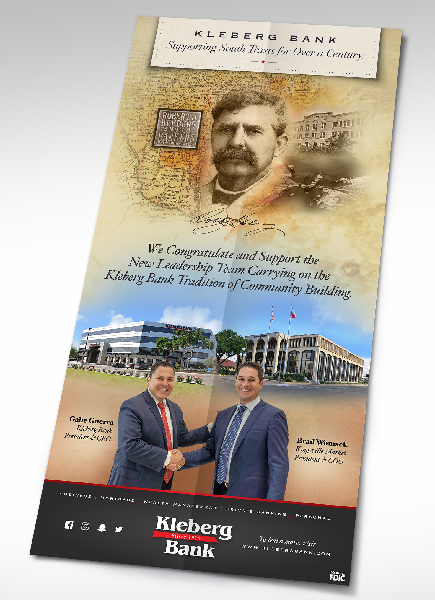 Kleberg Bank newspaper ad design