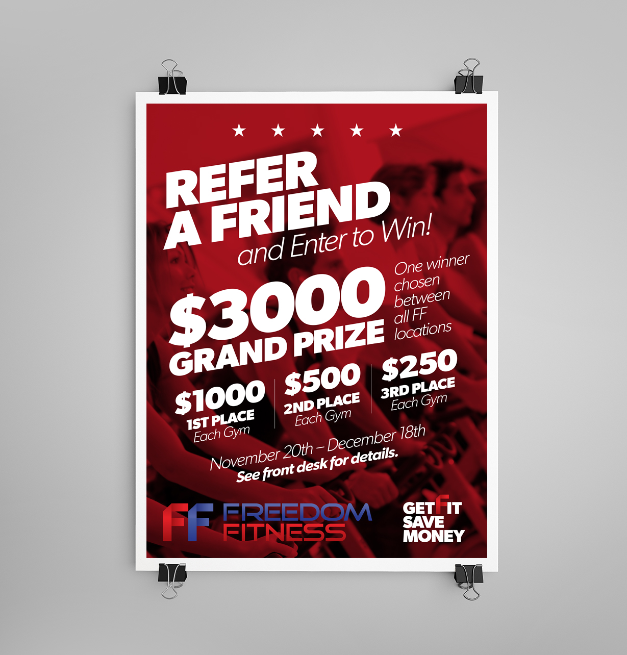 Refer a Friend poster for Freedom fitness can2 creative company