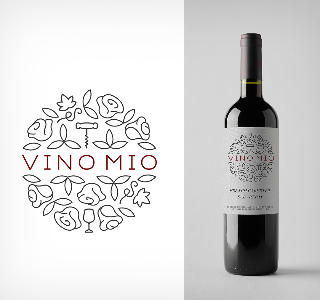 Vino Mio Logo Design and Wine Label