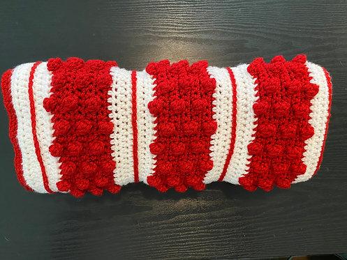 Candry Cane Crochet Bobble Stitch Blanket