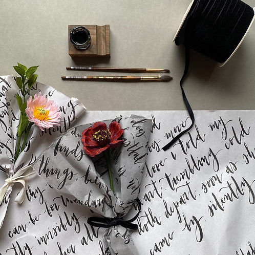 Paper Chocolate Cosmos / Aster flower with Brush Lettering Wrapper Workshop