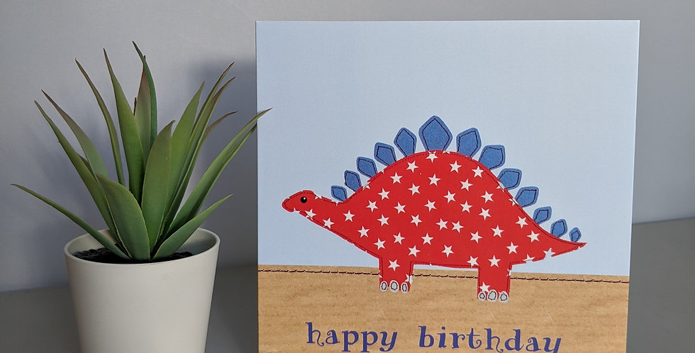 'Red Dinosaur' Happy Birthday Card