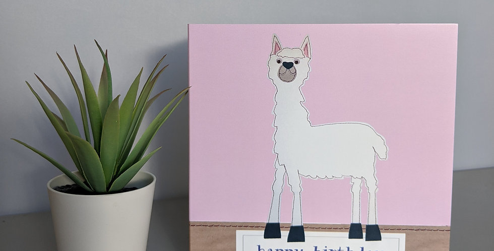 'Llama' Pink - Happy Birthday Card
