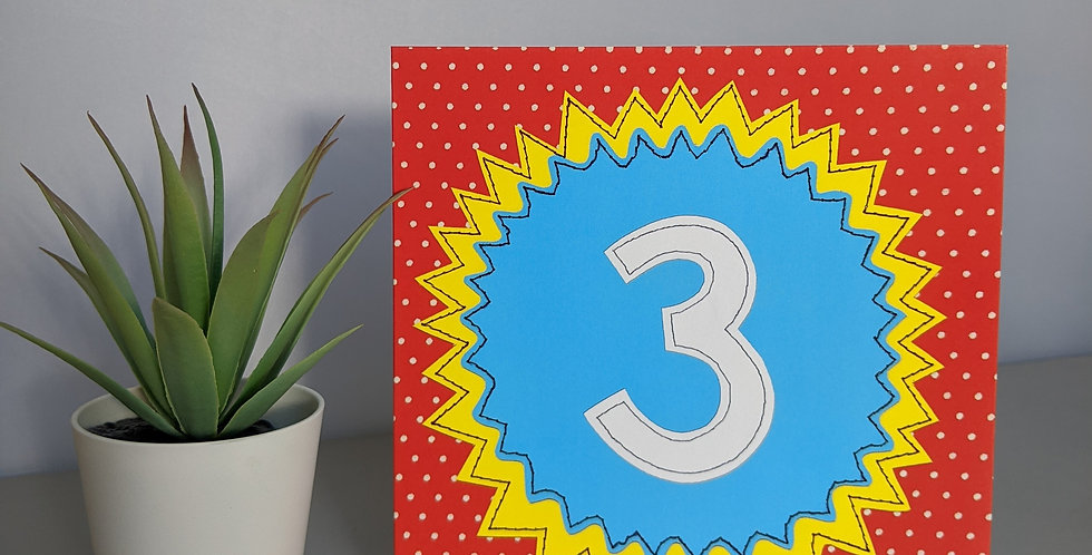 Age 3 ( Blue on Red) Birthday Card