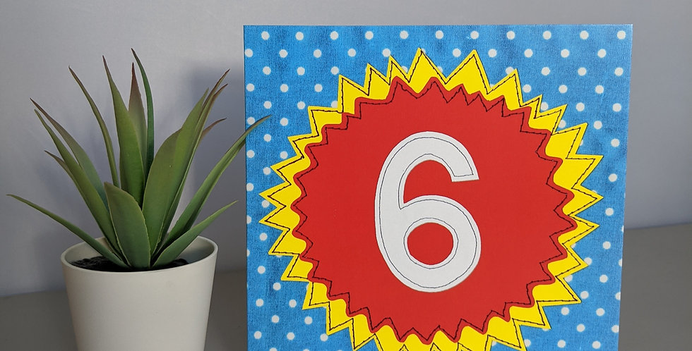 Age 6 ( Red on Blue) Birthday Card