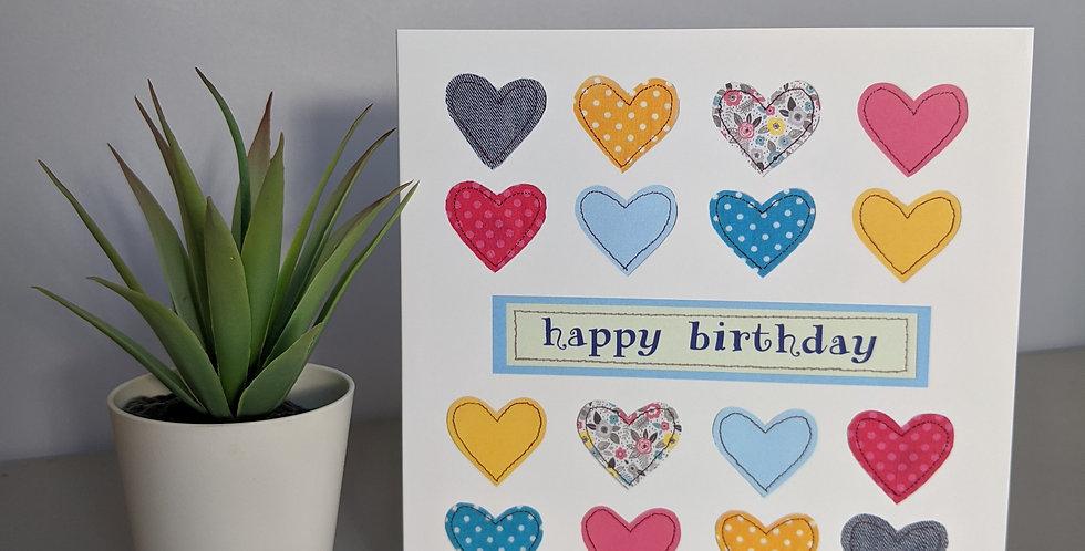 'Hearts' Happy Birthday Card