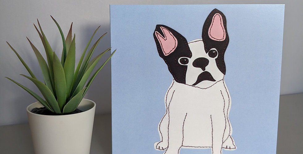 /'French Bulldog' Birthday Greetings Card