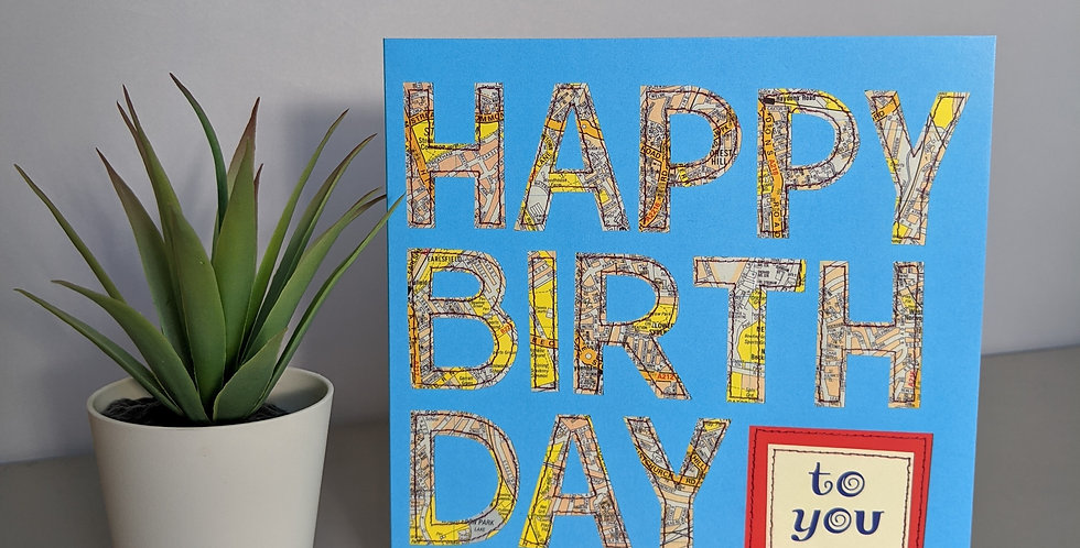 Map on Blue Happy Birthday Card