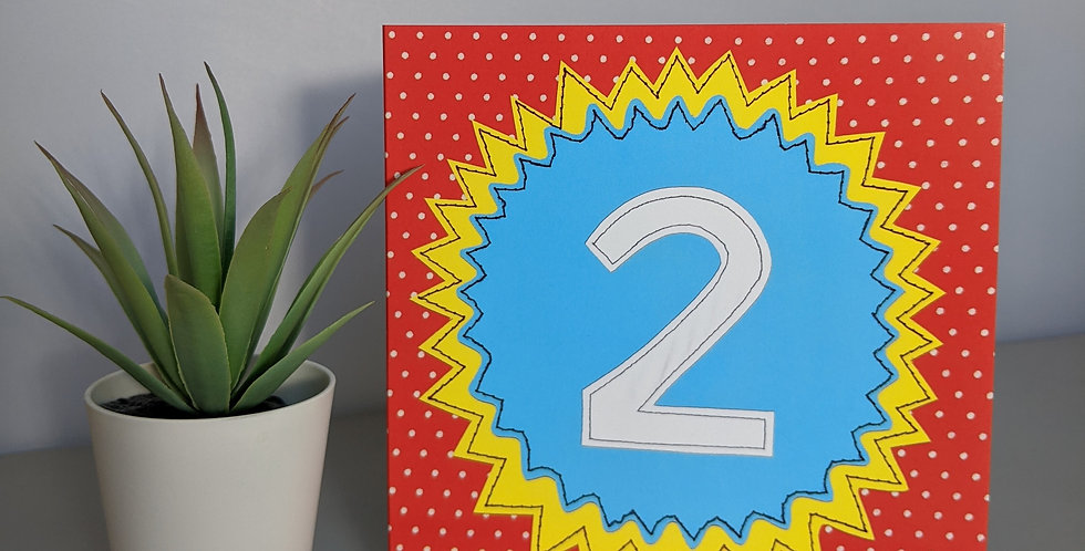 Age 2 ( Blue on Red) Birthday Card