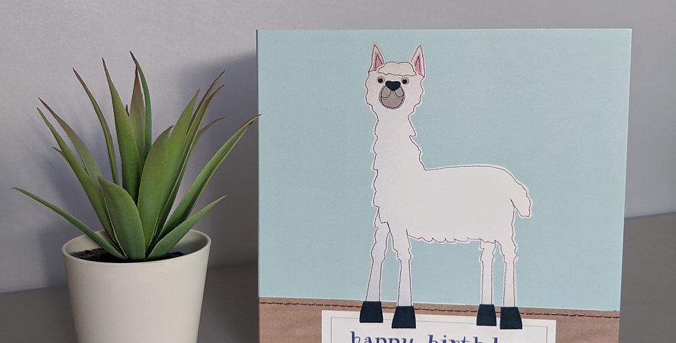 'Llama' Blue - Happy Birthday Card