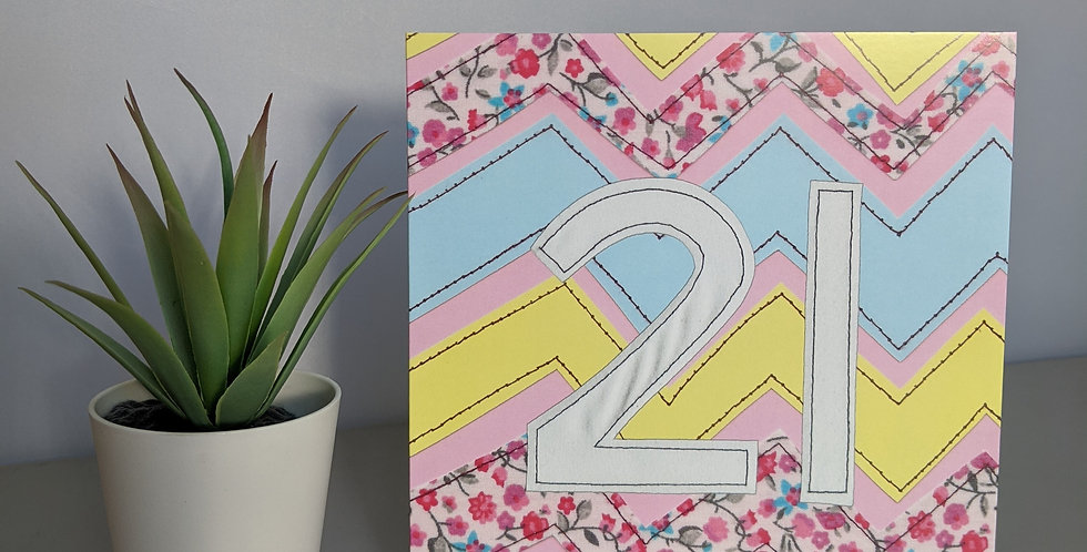 Age 21 (Pink Chevron) Birthday Card