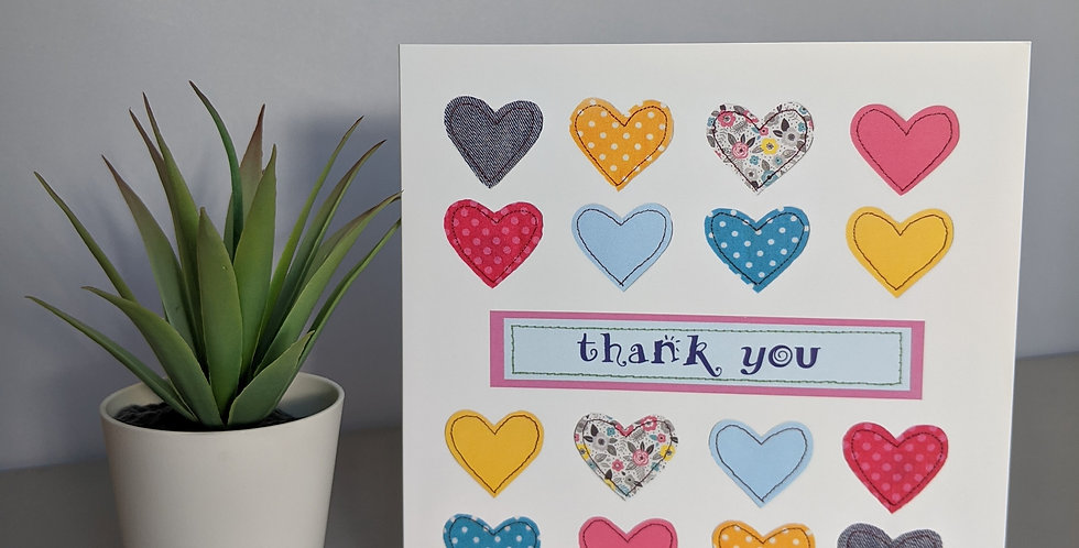 'Hearts' Thank You Card
