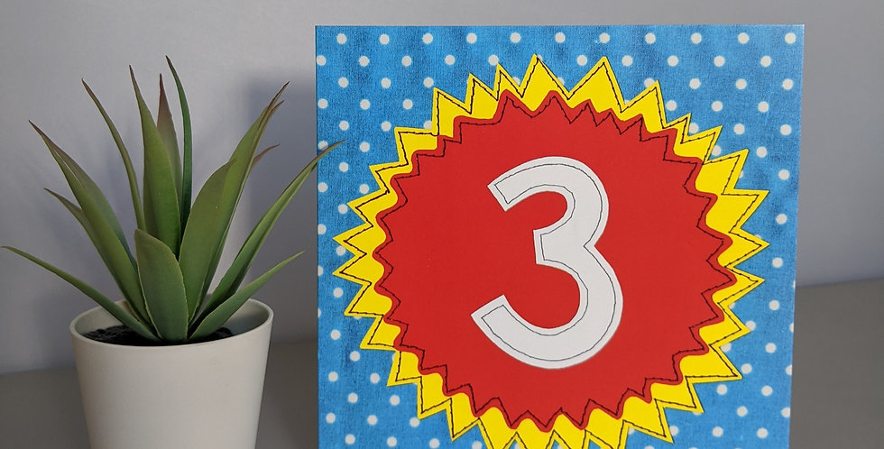 Age 3 ( Red on Blue) Birthday Card