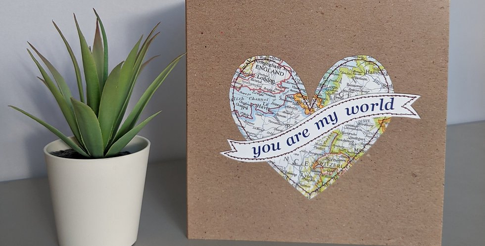 'You Are My World' Heart Greetings / Anniversary Card
