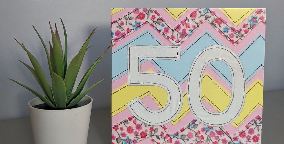 Age 50 (Pink Chevron) Birthday Card