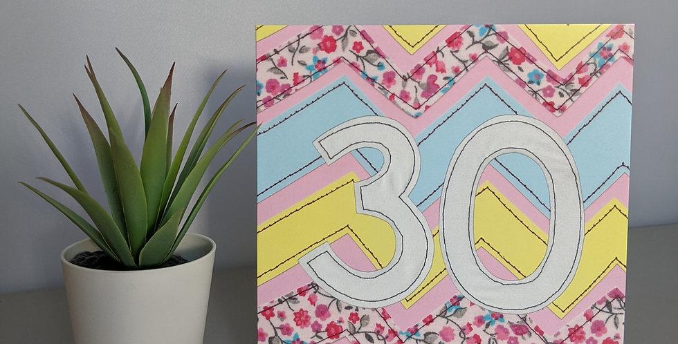 Age 30 (Pink Chevron) Birthday Card