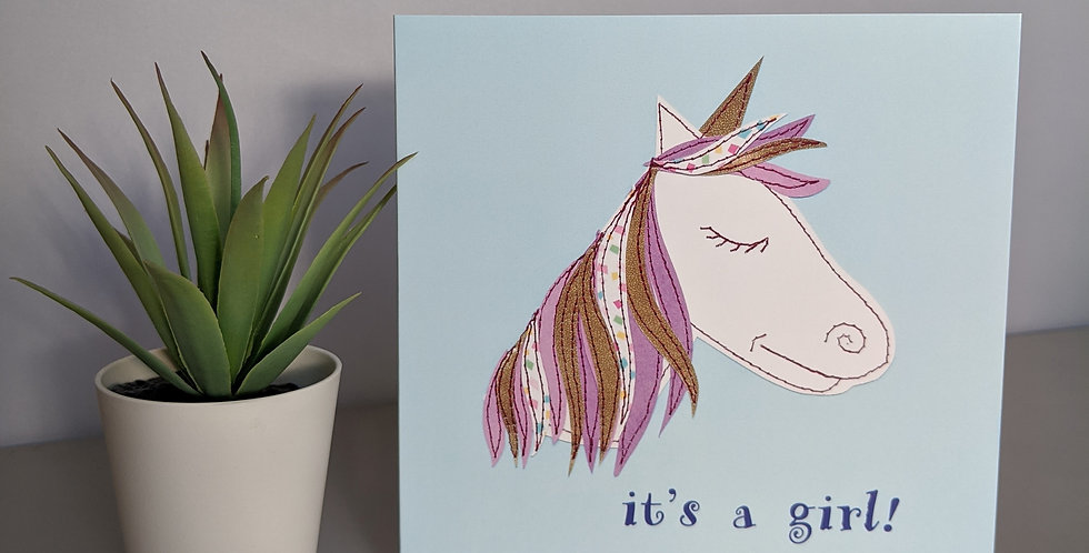 'Unicorn' It's A Girl New Baby Card