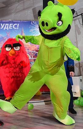 ростовая кукла энгри бердз зеленый свин,карнавальный костюм, товары для праздника