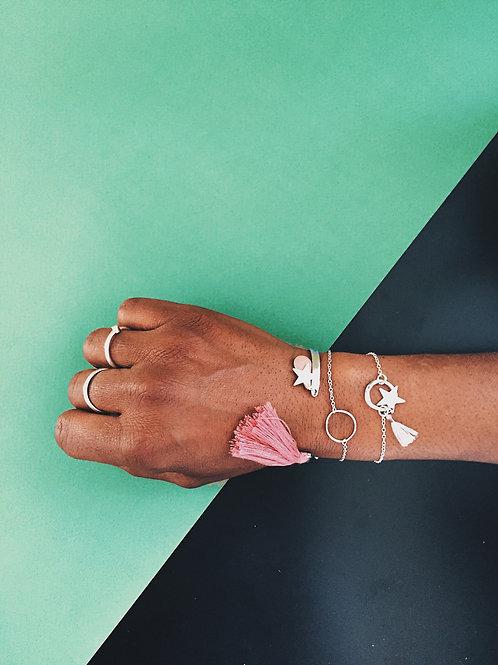 Bracelet argent + pompon