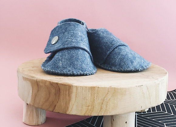 Chaussons - bleu chiné