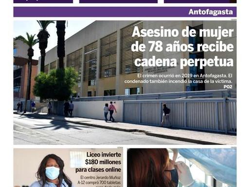 PORTADAS DE LA PRENSA ESCRITA DE LA REGIÓN DE ANTOFAGASTA PARA HOY JUEVES 8 DE JULIO