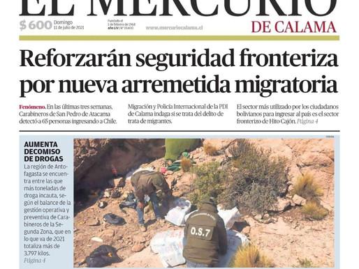 PORTADAS DE LA PRENSA ESCRITA DE LA REGIÓN DE ANTOFAGASTA PARA HOY DOMINGO 11 DE JULIO