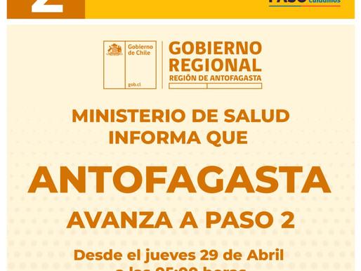 ANTOFAGASTA AVANZA Y MEJILLONES RETROCEDE A PASO 2 DESDE EL JUEVES 29 A LAS 05:00 AM