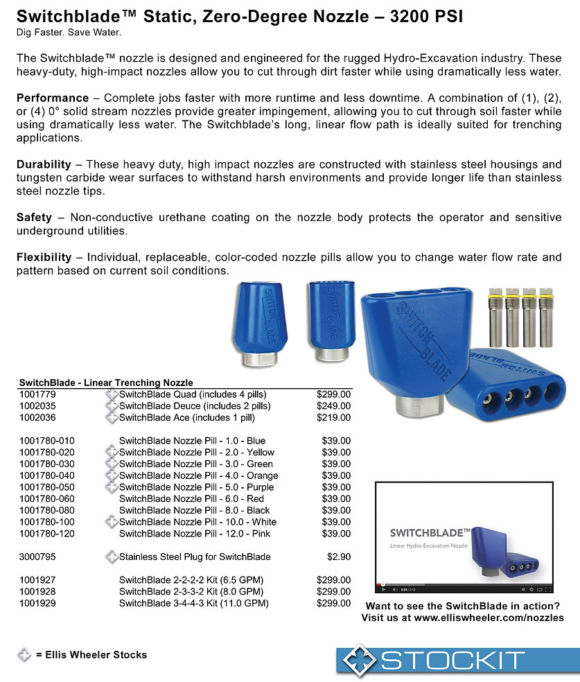 Hydraflex SwitchBlade Hydro Excavating Slot Trench Nozzle Nebraska utility marking paint trace wire supply marking tape hydro vac nozzles nebraska utility damage prevention products undrground safety products whiskers stake all whiskers stake chaser whiskers survey paint inverted marking paint Nebraska Kansas Iowa South Dakota Midwest markin supplies Ellis Wheeler utility products underground locating cable locators metal detectors nebraska tracer anode tracer wire fittings hydraflex ripsaw hydrovac nozzles hydraflex switchblade nozzles hydraflex aqua rocket nozzles powe washer tubes power washer guns pressure washer wands pressure washer lances telescoping wand Nebraska 811 safety products marking inverted neon paint