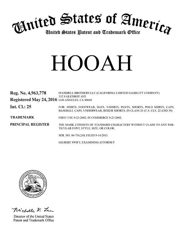 Dandrea Brothers LLC HOOAH trademark registration certificate USPTO.jpg