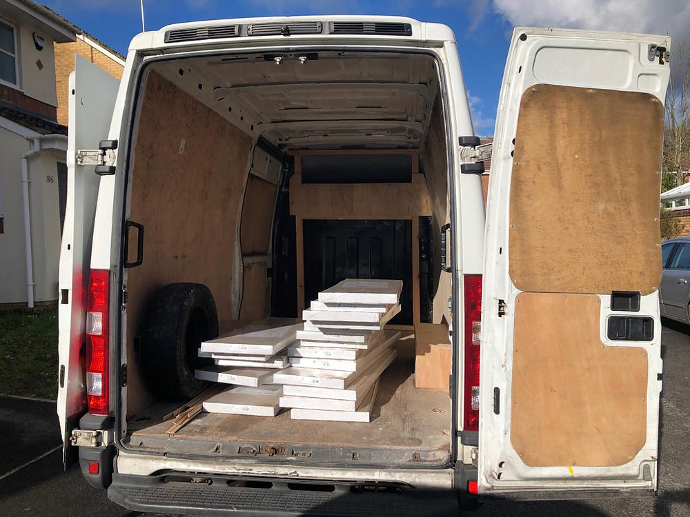 Van containing a click and collect order from B&Q for our customer