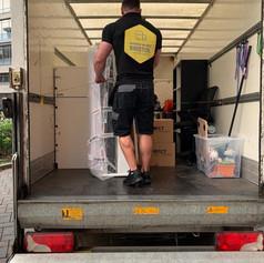 Carefully loading the van