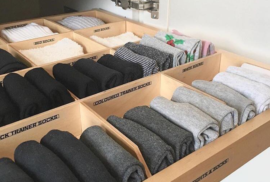 Tidy drawers using the Konmari Method.  Decluttering ready for a house move