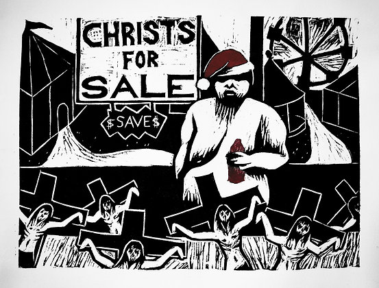 """Christs for Sale"" Woodcut Print"