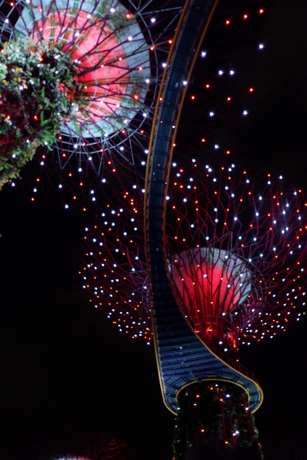 Dekorasi Gardens by The Bay di malam tahun baru (picture : K+AD Firma Ars)