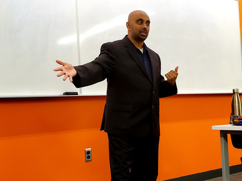 Speaking to Sheridan College students