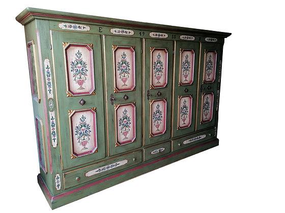 Anno 1700, altgrün, Bauernschrank, 5 Türen