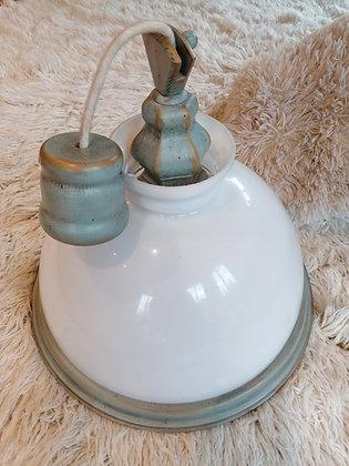 Anno 1700, altblau, Hängelampe, Glasschirm