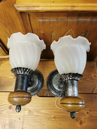 Wandlampen-Set Metall, Glasschirm