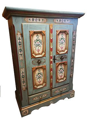 Anno 1700, altblau, Schrank, 2 Türen, 2 Schubladen