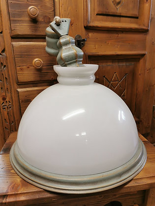 Anno 1700, altblau, Deckenlampe,Glasschirm