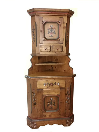 Anno 1700, braun antik, Eckschrank, 185 cm Höhe